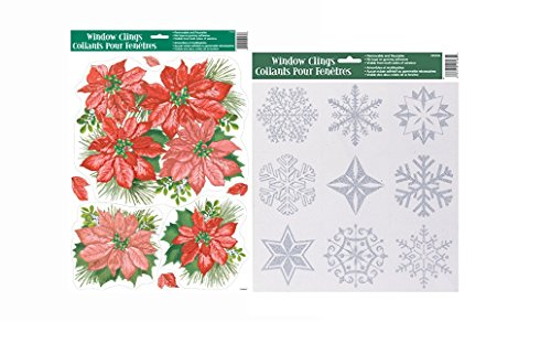 Poinsettia And Glitter Snowflakes Christmas Window Clings - Christmas Decorations - Large Sheet 17 x 12 (Poinsettia And Glitter Snowflakes Window Clings)