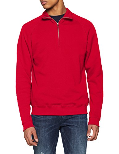 The red 40 Shirt Rouge Homme Sweat Classic Fruit Neck Of Loom Zip pfnwq5