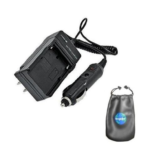 Amsahr C-BTL225 Digital Replacement Mini Battery Travel Charger for Sharp BT-L225, BT-L225U, BTL445, BTL665 with Lens Accessories Pouch (Gray) by Amsahr