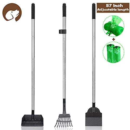 Dog Pooper Scooper Set, 3 Pack Adjustable 57.1 Inches Long Handle Metal Tray, Rake and Spade Poop Scoop for Waste Removal, No Bending Clean Up for Large and Small Dog - (Gift free 2 bags and hold bag)