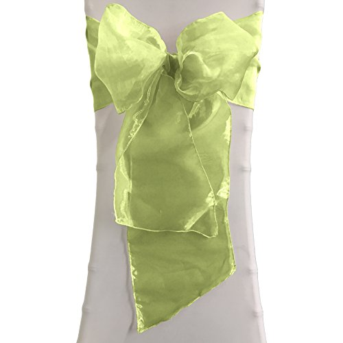 LA Linen 8″ Wide by 108″ Long Sheer Mirror Organza Chair Sashes/Pack of 10 / Lime Green.