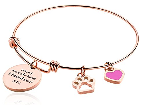 Borivilla When I Needed A Hand I Found Your Paw Rose Gold Plated Bangle Expandable Wire Bracelet For Women Stainless Steel Inspirational Cat Friendship Best Friend Charms Bead Pet Dog Lover Girl Gift