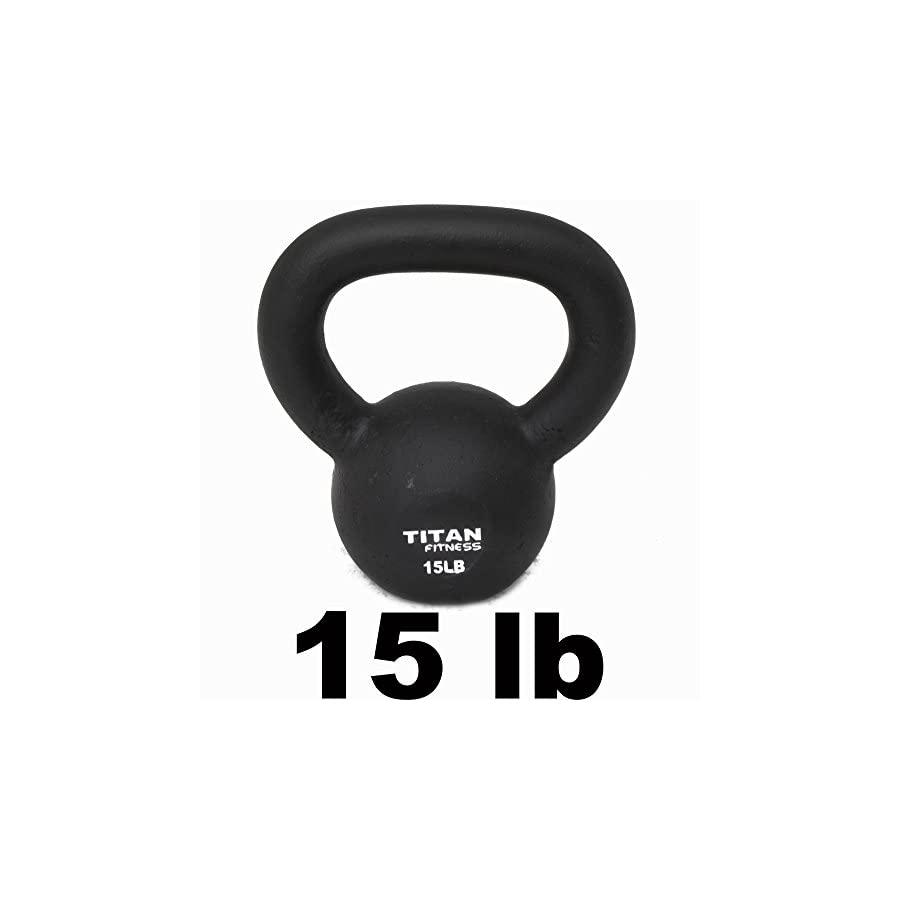 Titan Fitness Cast Iron Kettlebell Weight 15 Lbs Natural Solid Workout Swing