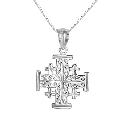 Italian Jewelry Designs (Sterling Silver Jerusalem Cross Charm / Pendant, Made in USA, 18