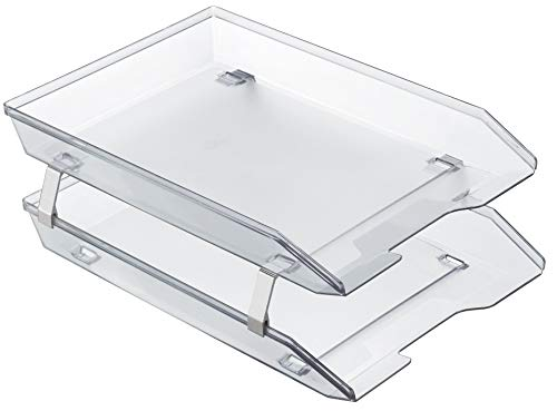 Acrimet Facility 2 Tier Letter Tray Frontal Plastic Desktop File Organizer (Crystal - Crystal Loading Tray Side Letter