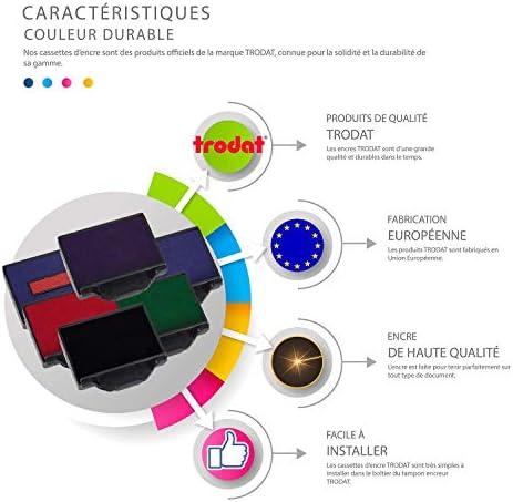 6 couleurs disponibles Encre tampon encreur 6//56C - Rouge Cassette dencrage 6//56 pour tampon TRODAT METAL LINE