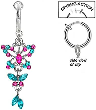 playful piercings Fake Belly Navel Non Clip on Blue Zircon /& Hot Pink Butterfly Long Dangle Ring