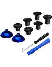 eXtremeRate ThumbsGear verwisselbare ergonomische thumbstick voor PlayStation 4 voor p s 4 voor Slim p s 4 Pro Controller met 3 Hoogte Koepelvormige en Concave Grips Verstelbare joystick -Chroom Blauw & Zwart