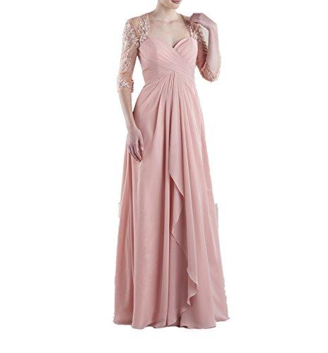 Bodenlang La Promkleider Marie Ballkleider Brautjungfernkleider Rosa Braut Langarm Abendkleider Spitze fzfZq