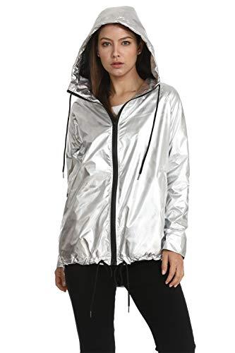Hoodies Outerwear Long Sleeve Sweatshirt Gold Metallic Zipper Up Punk Raincoat Showerproof Outerwear Jacket (SILVERA010, XL)