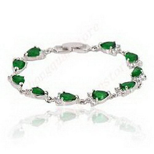 Scott ALlah Bracelets - 8*6MM CZ Fashion Week Inspire Green Emerald Bracelets Chain Women White Gold Filled Wedding Costume (Geek Costume Accessories)