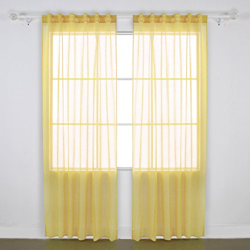Deconovo Linen Look Rod Pocket Sheers Transparent Curtains Voile Sheer Curtain for Bedroom 52W x 84L Yellow 2 Panels