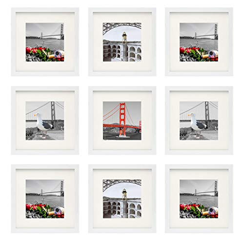 Frametory, Set of 9, 12x12 White Picture Frame - Made to Display 8x8 Photos with Ivory Mat - Swivel Tabs, Glass - Wide Molding, Collage Square Frames Wall Display - Horizontal/Vertical (12x12, White)