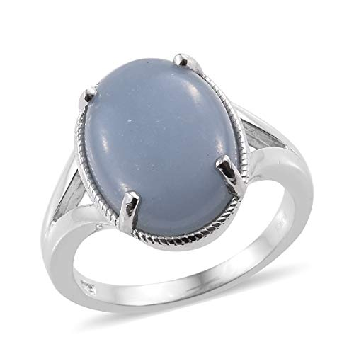 Shop LC Delivering Joy Solitaire Ring Oval Angelite Gift Jewelry for Women Size 9