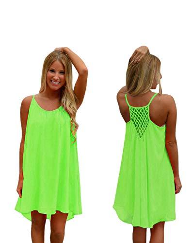 Spaghetti Strap Sundress Beach Cover Up Loose Tank Regular Plus Size Short Dresses Zulmaliu (Mint Green, 3XL)