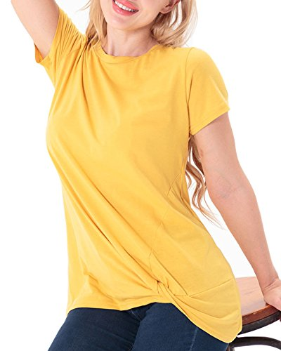 Rond Pull Avec Ourlet Chemises Spcial Manches Col Anyu Courtes Jaune Femmes Unie Couleur q8ZnPZY1