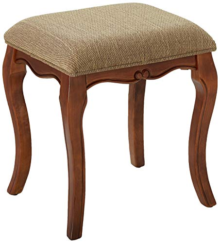 Cherry Vanity Bench - Design Toscano Lady Guinevere Makeup Chair Vanity Stool Bedroom Bench, 20 Inch, Hardwood, Cherry Finish