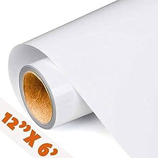 "PWJ Supplies Vinyl (12"" X 6 feet) HTV Heat Transfer Vinyl, Iron-on Heat Transfer, HTV, Vinyl for Shirt Maker Machine, Heat Transfer Paper, 6-Foot Heat Transfer Vinyl roll (White)"