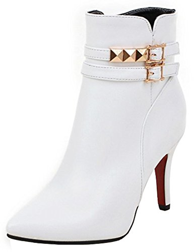 Summerwhisper Womens Sexy Studded Rivets Buckle Straps Pointed Toe Side Zipper Stiletto High Heel Ankle Boots