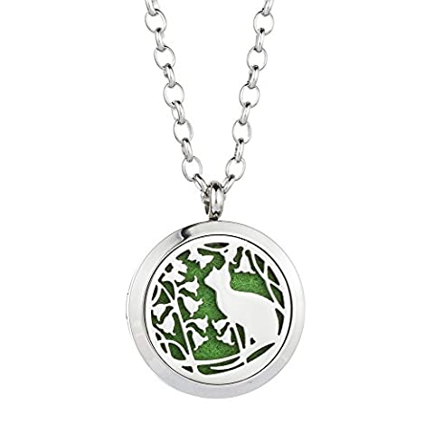 Jenia Essential Oil Diffuser Necklace Aroma Hyop-Allergenic Magnetic Locket Pendant With Chain&Pads - Pearl Graduation Charm