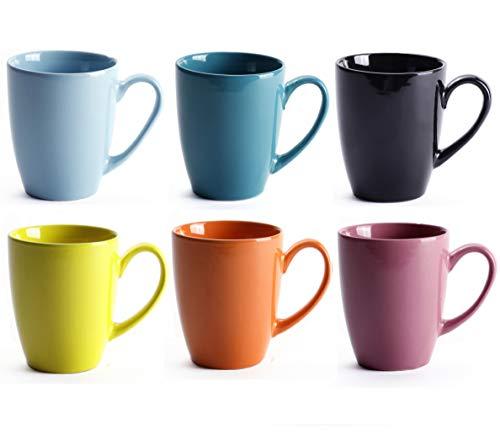 LEANDALE 12 OZ Ceramic Coffee Mug Tea Milk Cup Set of 6,Multi Solid Colour (Multi-6 pcs) ()