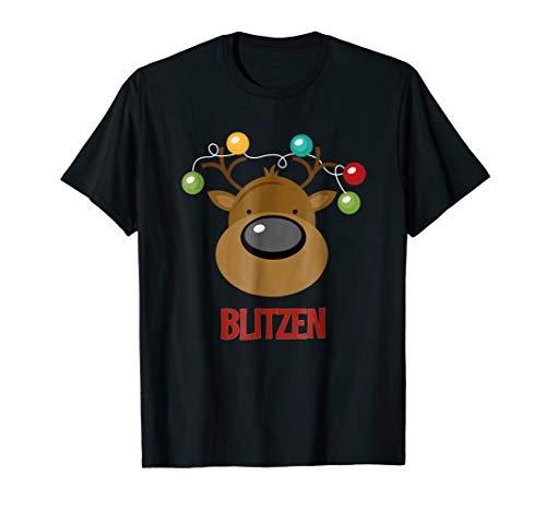 Santa Reindeer Blitzen T-Shirt Matching Christmas PJs Tee