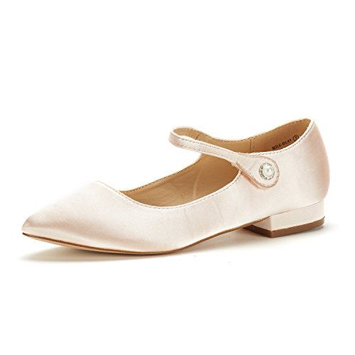 DREAM PAIRS Women's Sole_Silky Rose/Gold Fashion Low Stacked Ankle Straps Flats Shoes Size 7.5 M US