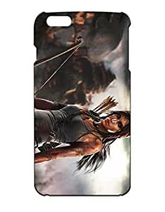 Tomb Raider Cell Phone Cover Case for iPhone 6S Plus, iPhone 6 Plus Funda Piel Cool Game Girls Boys (Negra and Diseño) 3D Dura Plastik Protect Luz Vintage Drop Protection Case for
