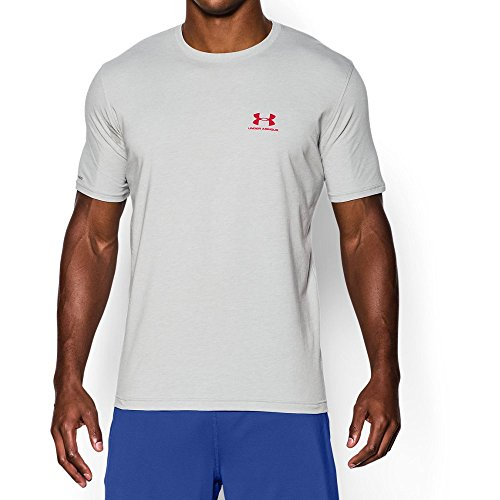 - Under Armour Men's Charged Cotton Left Chest Lockup T-Shirt, True Gray Heather /Red, X-Large
