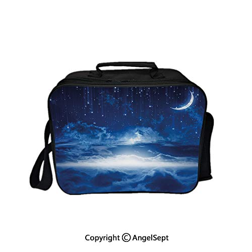 Fashion Custom Lunch Bag Tote Bag,Heavenly Majestic Galaxy View Falling Stars Celestial Magical Cosmos Decorative Navy Blue White Indigo 8.3inch,Lunch Organizer Lunch Holder For Unisex Adults