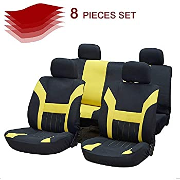 SCITOO Universal Black//Red Car Seat Cover w//Headrest Cover//Steering Wheel Cover//Shoulder Pads 11PCS Breathable Mesh Cloth Retractable Auto Cover Replacement for Most Cars