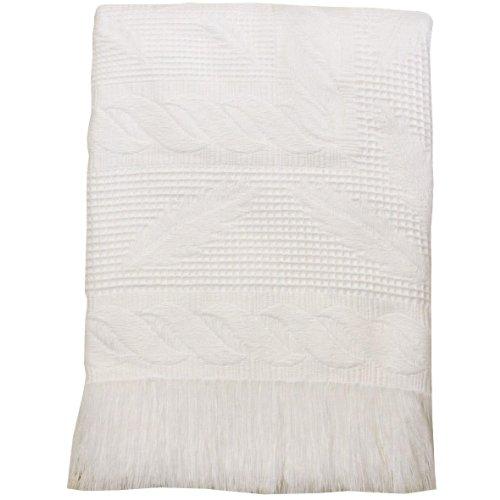 BabyPrem Baby Large Soft White Acrylic Fern Shawl Blanket 48 x 48
