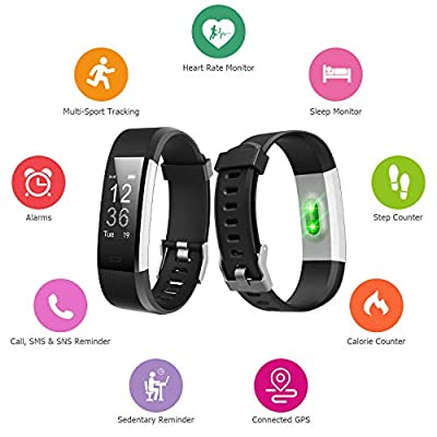 Letsfit Fitness Tracker HR, Activity Tracker Watch with Heart Rate Monitor, Pedometer, Sleep Monitor, 14 Sports Modes, Step Counter, Calorie Counter, IP67 Waterproof Fitness Watch for Kids Women Men from Letsfit