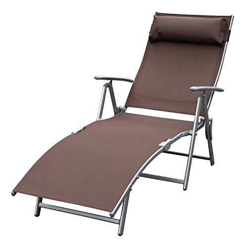 Outsunny Steel Sling Fabric Outdoor Folding Chaise Lounge Chair Recliner - Brown - Chaise Outdoor Single