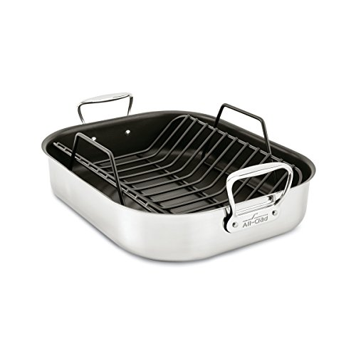 - All-Clad E751S264 Stainless Steel Dishwasher Safe Large 13-Inch x 16-Inch PFOA Free Nonstick Roaster with Rack Cookware, 16-Inch, Silver