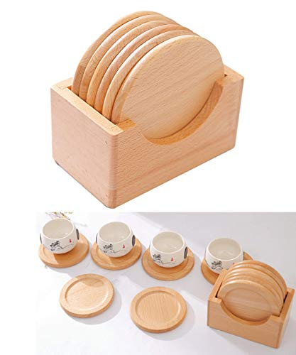 (Table Placemats Set of 6, Pretty Placemat, Round Tablemats, Heat-Resistant, Natural Beech Wood, Wipe Clean)