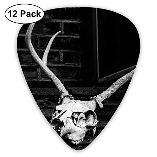 Halloween Grayscale Photo of Skull with Antler Bendy Ultra Thin 0.46 Med 0.73 Thick 0.96mm 4 Pieces Each Base Prime Plastic Jazz Mandolin Bass Ukelele Guitar Pick Plectrum Display