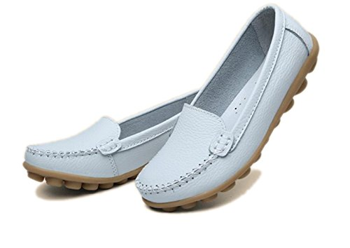 YINHAN+Women%27s+Casual+Driving+Loafers+Slip+On+Boat+Shoes+Flats+White+US+8