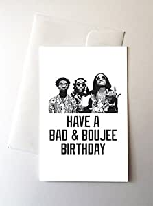 Amazon 2 pack bad boujee birthday cards 425x55 inch greeting cards m4hsunfo