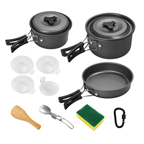 Gonex Camping Cookware Set Mess Kit, Backpacking Gear Cooking Equipment, Stackable Portable Non Stick Pot Pan Cook for Outdoors Hiking (Black 2L 13 pcs)
