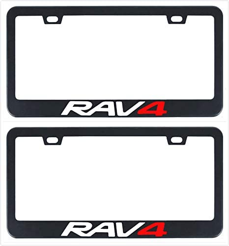 Auggies Rav4 Rav-4 Black Red Stainless Steel Black License Plate Frame Cover Holder Rust Free with Caps and Screws 1