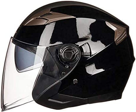 NJ ヘルメット- 電動バイクヘルメット男性と女性四季ユニバーサルダブルレンズヘルメット (Color : Bright black gray, Size : L)