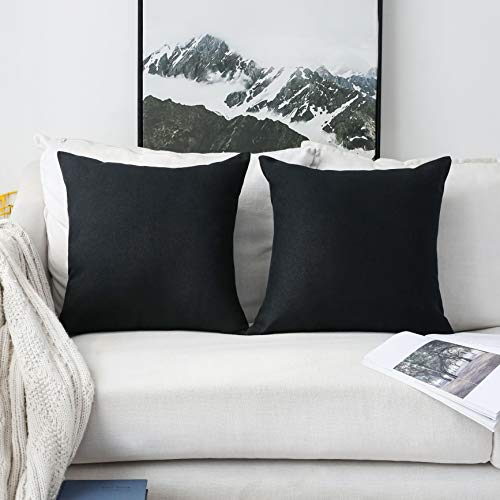 HOME BRILLIANT Decorative Pillows Covers Lined Linen Cushion Covers for Bed Couch, Set of 2, 18x18 inches(45cm), Black (Linen Cushion)