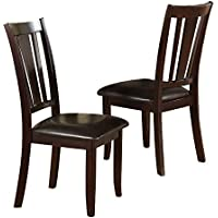Poundex Dining Chair, Deep Brown, Set of 2