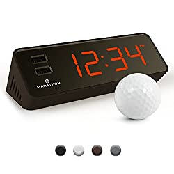 MARATHON CL030055CO LED Alarm Clock with Two Fast Charging, Front Facing USB Ports. Great for Travelling