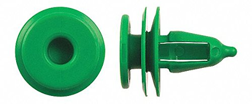 Solid Push In Rivet, Nylon, 7mm Dia, 15mm L, 7mm, Green