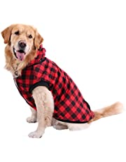 PAWZ Road Dog Plaid Shirt Coat Hoodie Pet Winter Clothes Warm and Soft for Medium and Large Dogs,Upgrade Version Red 3XL