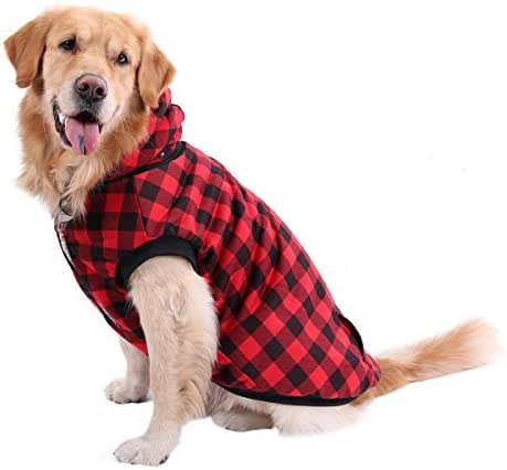 PAWZ Road Dog Plaid Shirt Coat Hoodie Pet Winter Clothes Warm and Soft for Medium and Large Dogs,Upgrade Version Red 2XL
