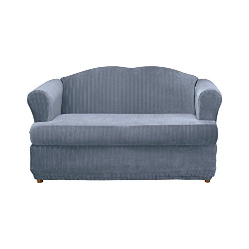 Sure Fit Stretch Pinstripe 2-Piece - Loveseat Slipcover  - French Blue (SF35828) by Surefit