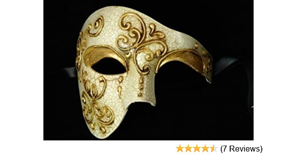 Black /& Gold Men Masquerade Mask Mardi Gras Phantom Half Face Mask